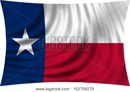 Flag of the US state of Texas. American patriotic element. USA banner. United States of America symbol. Texan official flag waving isolated on white 3d illustration