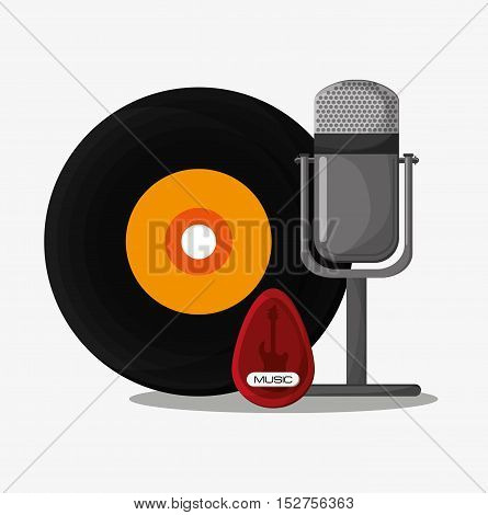 Vinyl and microphone icon. Music sound musical and communication theme. Colorful design. Vector illustration