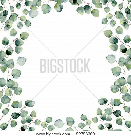 Watercolor green floral frame card with eucalyptus round leaves. Hand painted border with branches and leaves of silver dollar eucalyptus isolated on white background. For design or background.