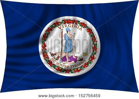 Flag of the US state of Virginia. American patriotic element. USA banner. United States of America symbol. Virginian official flag waving isolated on white 3d illustration