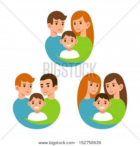 Gay and traditional couples with children moms and dads with son. Family and adoption illustration.