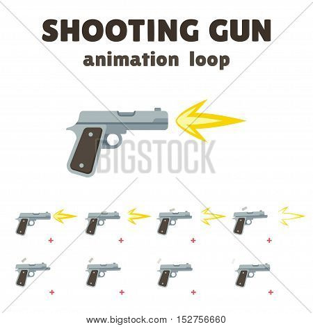 Gun shoot animation 8 frame loop. Realistic smooth motion with recoil and falling shells. Cartoon effect for video games.