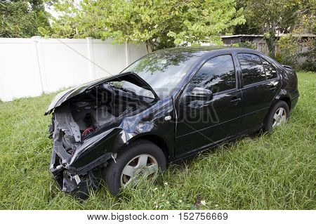 ORLANDO FLORIDA - SEPTEMBER 27: Car shows damage sustained after an accident with another vehicle. Taken September 27 2016 in Florida.