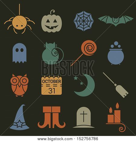 Halloween colorful flat icons set. Pictograms of spider, cat and bat, web, ghost and pumpkin, candy and potion, owl, calendar, moon and broom, boots, hat, candle and tomb. Vector illustration