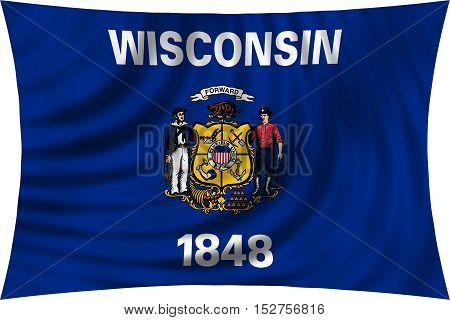 Flag of the US state of Wisconsin. American patriotic element. USA banner. United States of America symbol. Wisconsinite official flag waving isolated on white illustration