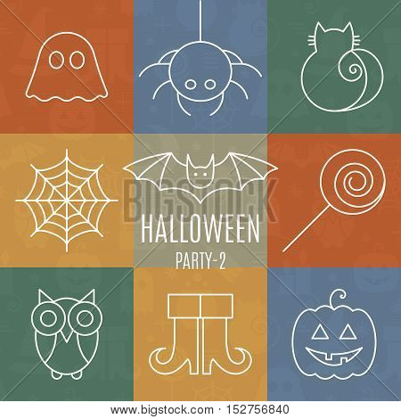 Halloween linear icons set with editable stroke on colorful background for holiday design. Line pictograms of spider, cat, bat, web, ghost, pumpkin, candy, owl, boots. Vector illustration.