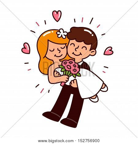 Cute cartoon wedding couple. Happy groom holding bride with flowers and hearts. Simple and modern style vector illustration.