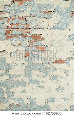 Old weathered red Brick wall. Vintage texture Background.