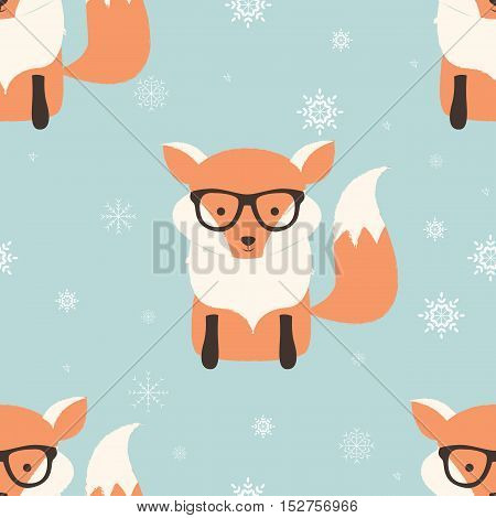 Seamless Merry Christmas patterns with cute hipster fox vector illustration