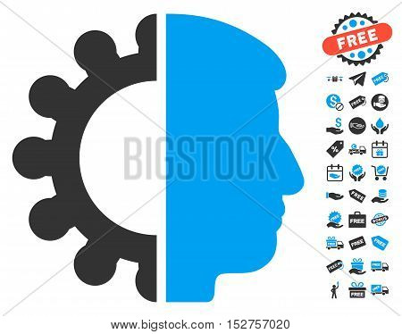 Android Head icon with free bonus clip art. Vector illustration style is flat iconic symbols, blue and gray colors, white background.