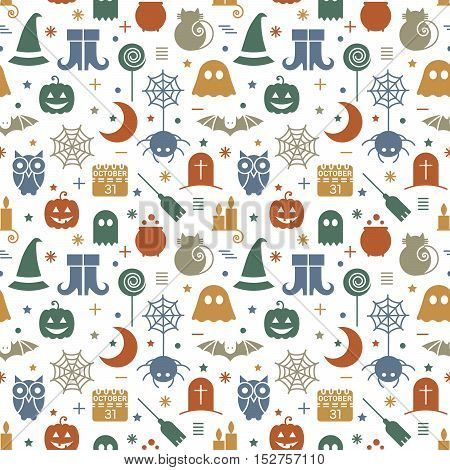 Seamless Halloween colorful pattern with festive Halloween icons. Design for wrapping paper, paper packaging, textiles, fabric, holiday party invitations, banner, greeting card. Vector illustration.