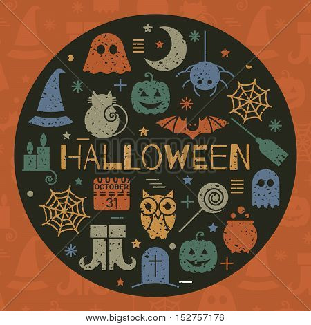 Halloween colorful icons set in circle shape on black background. Grunge concept for festive banner, greeting invitation card, flyer, tag, label, poster, postcard, advertisement. Vector illustration.