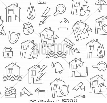 Security of housing and office buildings, background, seamless, white. Vector background with gray outline drawings on a white field. Insurance and protection of residential and office space.