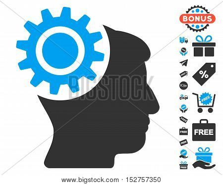 Brain Gear pictograph with free bonus design elements. Vector illustration style is flat iconic symbols, blue and gray colors, white background.