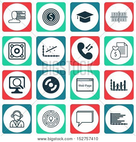 Set Of 16 Universal Editable Icons For Education, Seo And Human Resources Topics. Includes Icons Suc