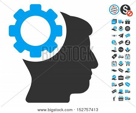 Brain Gear pictograph with free bonus graphic icons. Vector illustration style is flat iconic symbols, blue and gray colors, white background.