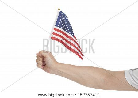 Hand holding American flag isolated on white background