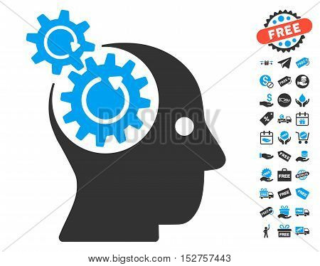 Brain Gears Rotation pictograph with free bonus pictograph collection. Vector illustration style is flat iconic symbols, blue and gray colors, white background.