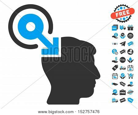 Brain Interface Plug-In pictograph with free bonus pictograms. Vector illustration style is flat iconic symbols, blue and gray colors, white background.