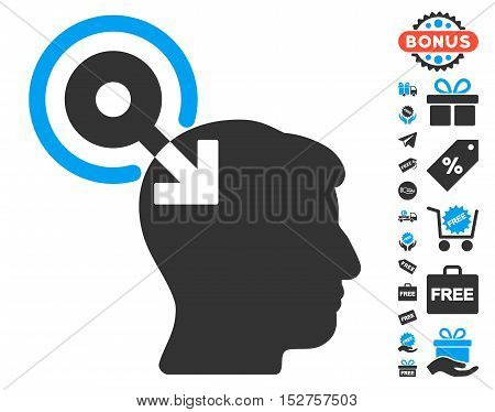 Brain Interface Plug-In icon with free bonus icon set. Vector illustration style is flat iconic symbols, blue and gray colors, white background.
