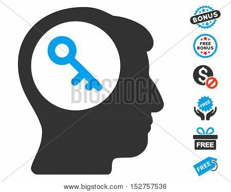 Brain Key pictograph with free bonus pictograph collection. Vector illustration style is flat iconic symbols, blue and gray colors, white background.