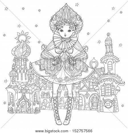 Vector cute fairy gothic lolita girl in nice dress. Vector line illustration. Sketch for postcard or print or coloring adult book. Boho style Fairy christmas europe town.