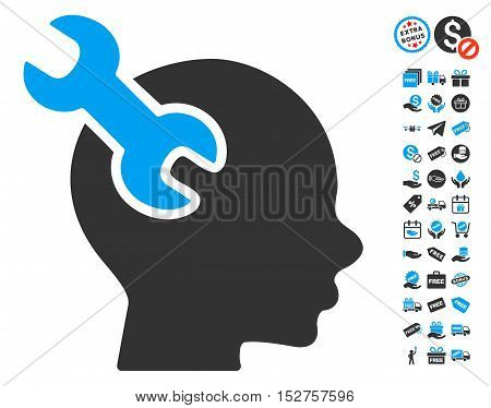 Brain Service Wrench icon with free bonus symbols. Vector illustration style is flat iconic symbols, blue and gray colors, white background.