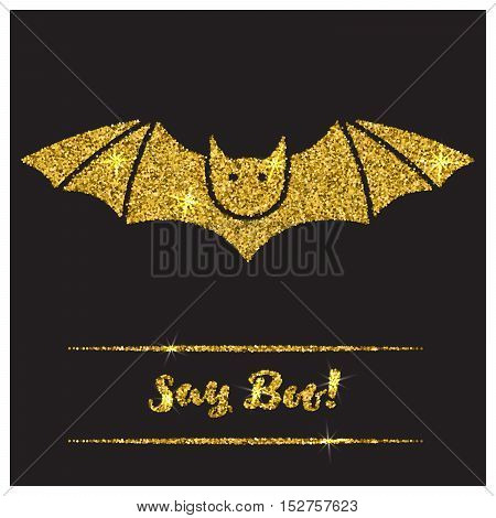 Halloween gold textured bat icon on black background. Golden design element for festive banner, greeting and invitation card, flyer, tag, poster, postcard, advertisement. Vector illustration.