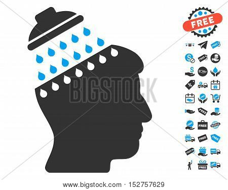 Brain Shower pictograph with free bonus images. Vector illustration style is flat iconic symbols, blue and gray colors, white background.