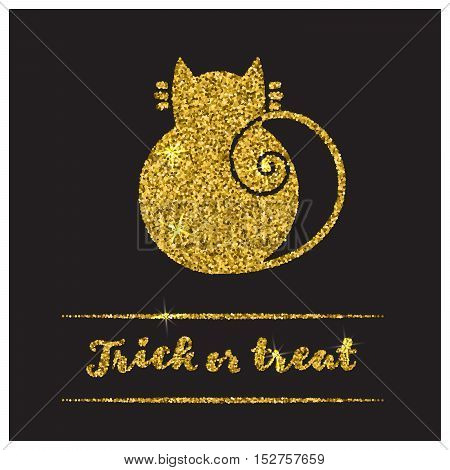 Halloween gold textured cat icon on black background. Golden design element for festive banner, greeting and invitation card, flyer, tag, poster, postcard, advertisement. Vector illustration.