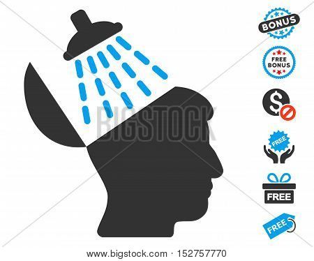 Brain Washing pictograph with free bonus design elements. Vector illustration style is flat iconic symbols, blue and gray colors, white background.