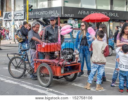 Bogota Colombia - May 01 2016: People walking through the streets of Bogota