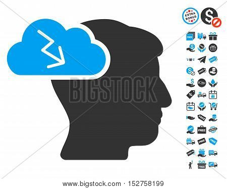 Brainstorming icon with free bonus images. Vector illustration style is flat iconic symbols, blue and gray colors, white background.