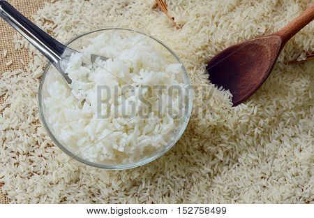 cooked and uncooked rices in glass bowl
