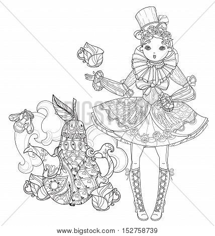 Vector cute fairy gothic lolita girl in nice dress near pear tea pot Vector line illustration. Sketch for postcard or print or coloring adult book. Boho style.