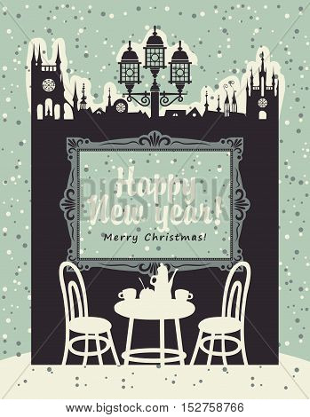 Christmas card with an interior of a cafe in the old town with furniture and painting