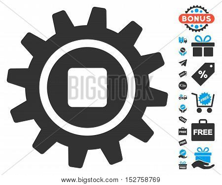 Cog pictograph with free bonus clip art. Vector illustration style is flat iconic symbols, blue and gray colors, white background.