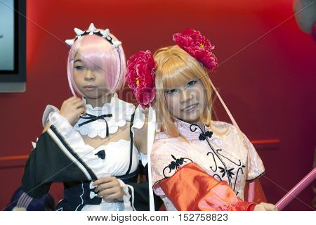 NEW YORK NEW YORK - OCTOBER 9: Girls wearing cosplay costumes at NY Comic Con at Jacob K. Javits convention center. Taken October 9 2016 in New York.