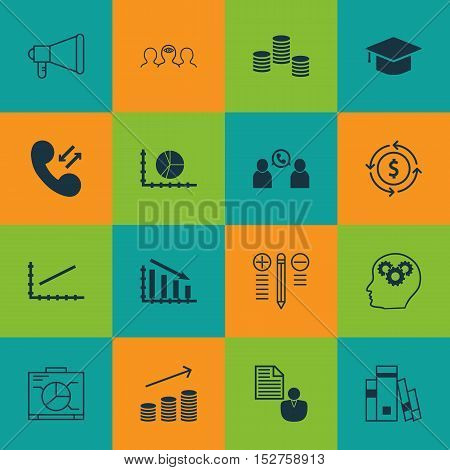 Set Of 16 Universal Editable Icons For Advertising, Project Management And Education Topics. Include