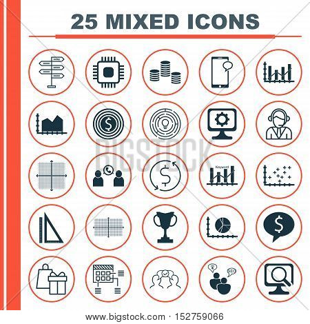 Set Of 25 Universal Editable Icons For Statistics, Education And Computer Hardware Topics. Includes