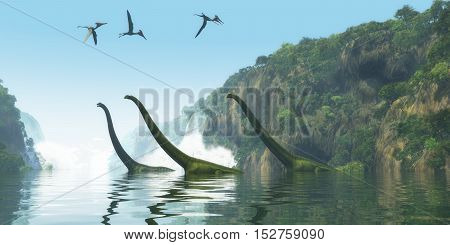 Mamenchisaurus Dinosaur Foggy Day 3D Illustration - Two Mamenchisaurus dinosaur adults escort a youngster across a river as Pterodactylus birds search for fish prey.
