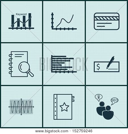 Set Of 9 Universal Editable Icons For Advertising, Statistics And Seo Topics. Includes Icons Such As