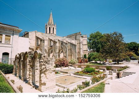 Ancient Old Christian temple St Martial at Square Agricol Perdiguier in Avignon, France