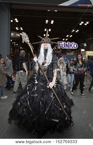 NEW YORK NEW YORK - OCTOBER 9: Person wearing costume at NY Comic Con at Jacob K. Javits convention center. Taken October 9 2016 in New York.
