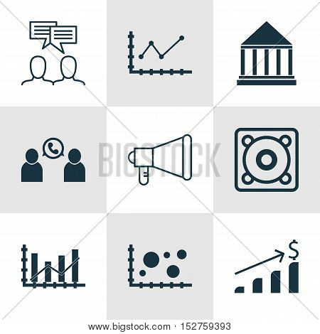 Set Of 9 Universal Editable Icons For Statistics, Project Management And Education Topics. Includes