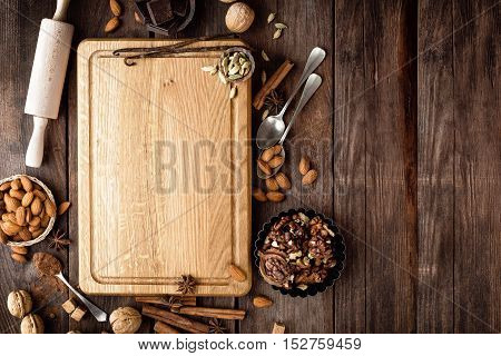 wooden culinary background and ingredients for Christmas baking