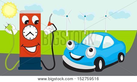 Car transition from fuel to electricity concept. Gasoline station gives to choose a fuel or electricity. Vector illustration in cartoon style