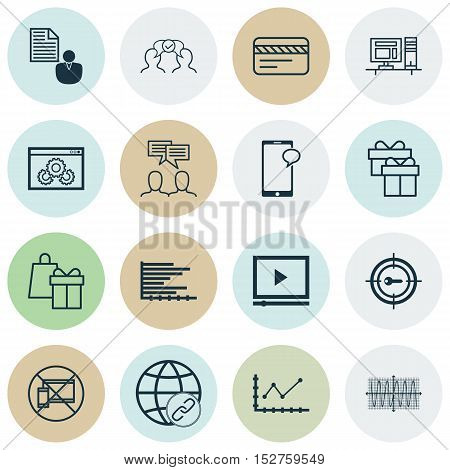 Set Of 16 Universal Editable Icons For Project Management, Marketing And Statistics Topics. Includes