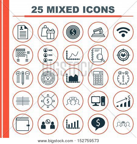 Set Of 25 Universal Editable Icons For Statistics, Business Management And Computer Hardware Topics.