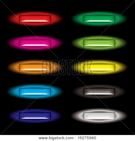 Collection of gel filled web icon buttons with outer glow